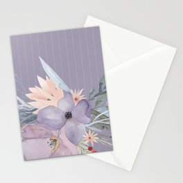 Striped Floral Lavender Bouquet Stationery Cards