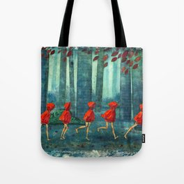 Five Little Red Riding Hoods 1 Tote Bag