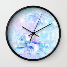Old car in pink and blue space Wall Clock
