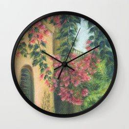 Picturesque patio_Pastel painting Wall Clock