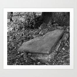broken old grave on the green Art Print