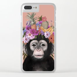 Chimpanzee Print, Woodlands Nursery Decor, Wall Art, Animals Print, Woodlands Nursery Art, room Deco Clear iPhone Case