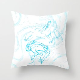 Snow Hare Dance in Blue Throw Pillow