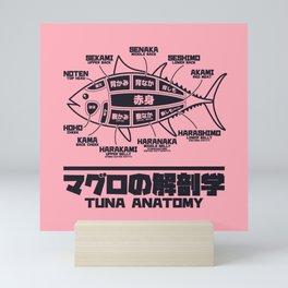 Tuna Anatomy Japanese Maguro Sushi - Coral Mini Art Print