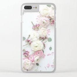 SPRING FLOWERS WHITE & PINK Clear iPhone Case