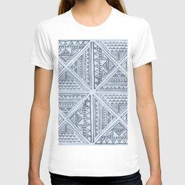 Simply Tribal Tile in Indigo Blue on Sky Blue T-shirt