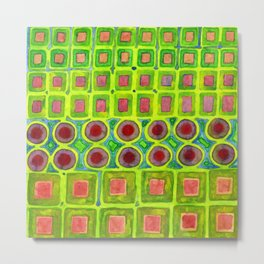 Connected filled Squares Fields Metal Print