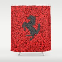 ferrari Shower Curtains featuring Red Homage to Ferrari by Giovanni Fontana