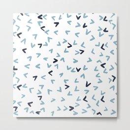 White, Navy and Light Blue Birds Metal Print