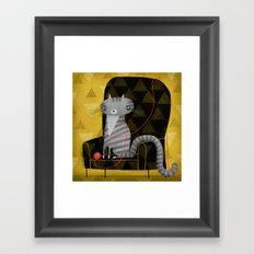 SEATED GRAY TABBY Framed Art Print