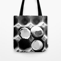 eggs Tote Bags featuring  eggs by serena wilson stubson