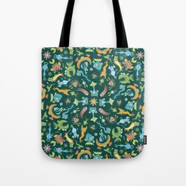 Weird sea animals devouring each other in a mandala pattern design Tote Bag