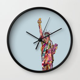 the french gift: statue of liberty Wall Clock
