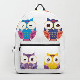 bright colorful owls on white background Backpack