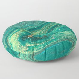 Green Marble Glitter Gold Fluid Painting Pouring Jupiter Surface Glamorous Shiny Metallic Accents Floor Pillow