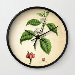Coffee Art Print, Kitchen Art Print, Coffee Poster, Coffee Plant Botanical Print, Coffee Tree, Coffee Plant Art Print, Kitchen Decor Print Wall Clock