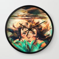 river Wall Clocks featuring The River by Alice X. Zhang