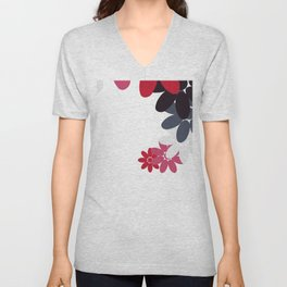 Creative Abstract Design from Random Colorful Flowers Unisex V-Neck
