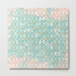 Luxury Aqua and Pink and Gold oriental pattern Metal Print