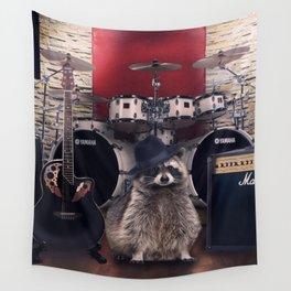 raccoon rock Wall Tapestry