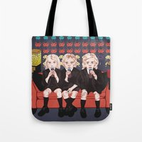 ahs Tote Bags featuring AHS Hotel by minniemorrisart