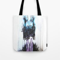 alcohol Tote Bags featuring Alcohol dependence by laurensmorin
