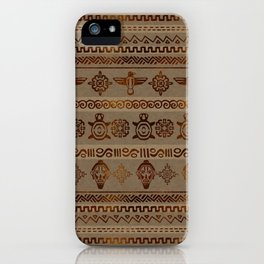 Maya / Aztec  pattern Burn gold on canvas iPhone Case