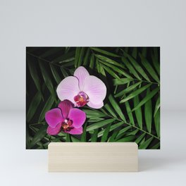 Orchids with palm leaves Mini Art Print