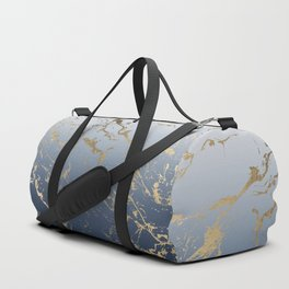 Modern grey navy blue ombre gold marble pattern Duffle Bag