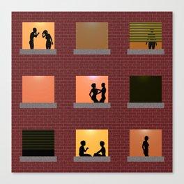 Multi Storey Apartment Windows at Night Canvas Print