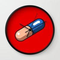 akira Wall Clocks featuring Akira Pill by azra
