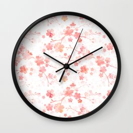 Peach pink Chinese cherry blossom on white Wall Clock