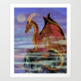 Aries Full Moon Dragon Art Print