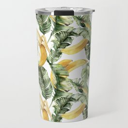 Summer seamless tropical pattern with banana palm leaves and banana fruits. Tropical botanical print. Jungle print. Floral background. Exotic leaves and fruits. Tropics. Summertime Travel Mug