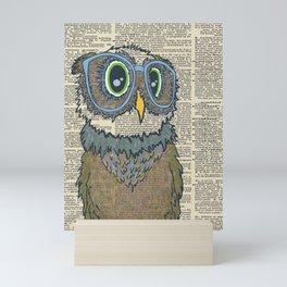 Owl wearing glasses Mini Art Print