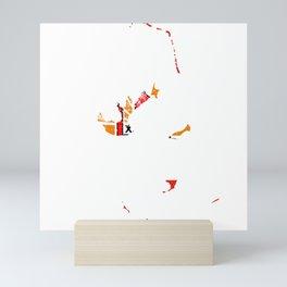 Distressed French Polynesia Map Mini Art Print