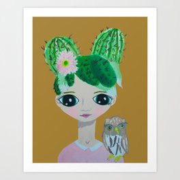 ~ Cactus Hair Clementine & Pygmy Owl ~10 year old Artist Amelia Milly Moo Art Print