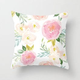 Sweet Pink Blooms (Floral 02) Throw Pillow