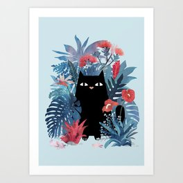 Popoki in Blue Art Print