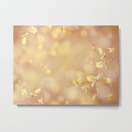 Many young spring leaves on blurred background Metal Print