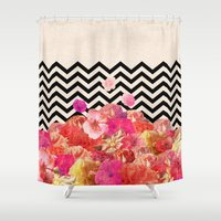 flora Shower Curtains featuring Chevron Flora II by Bianca Green