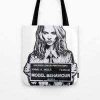 kate moss Tote Bags featuring Kate Moss by Merlin Dobaryan