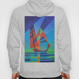 Cubist Abstract Junk Boat Against Deep Blue Sky Hoody
