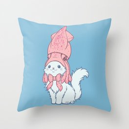 White Cat Wears Squid Hat Throw Pillow
