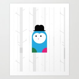 THE MISSING SCARF - Owl Art Print