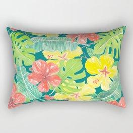 Tropical garden, hibiscus plumeria and palm leaves Rectangular Pillow