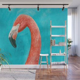 Flamingo watercolor portrait Wall Mural