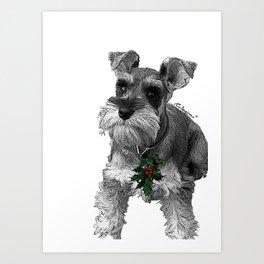 Christmas Schnauzer Art Print