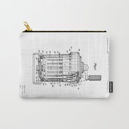 Curta Mechanical Calculator Patent Drawing Carry-All Pouch
