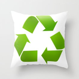 Green Recycle symbol on white background Throw Pillow